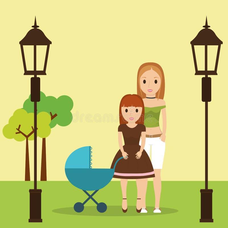 Mamma e figlia con il parco della carrozzina royalty illustrazione gratis