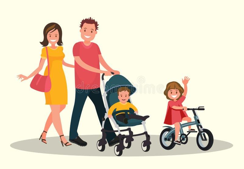 Mamma e papà con un bambino in un passeggiatore ed in figlia che guida una bici illustrazione vettoriale