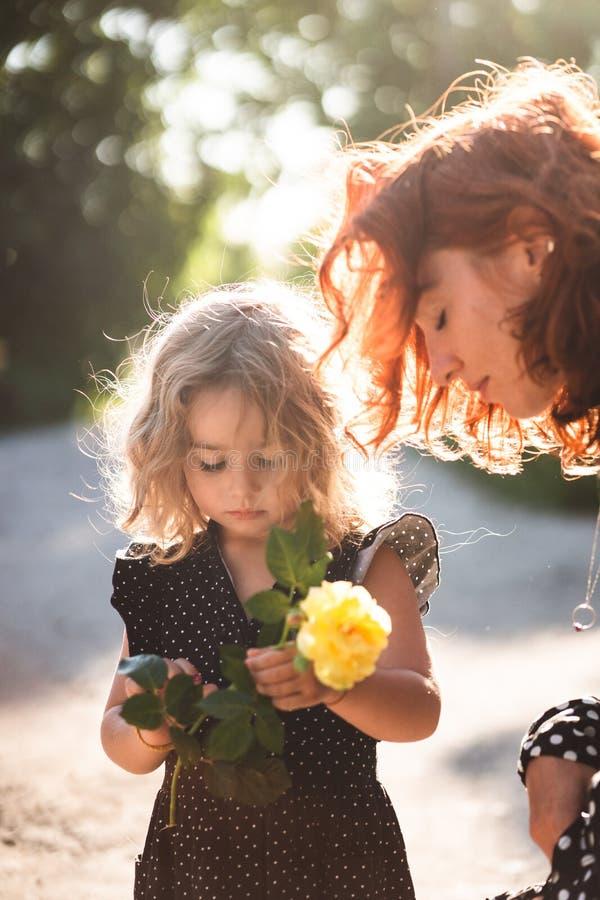 Mamma e piccola figlia con una rosa gialla immagine stock