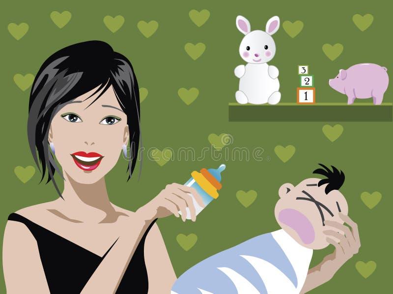 Mamma en baby stock illustratie