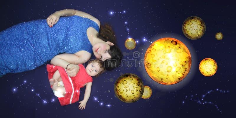 Mamma en baby Een het houden van lied voordien stock illustratie