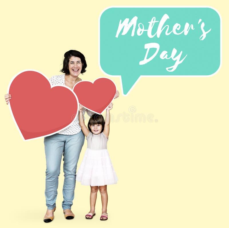 Mamma en dochter het vieren de dag van de moeder royalty-vrije stock afbeeldingen