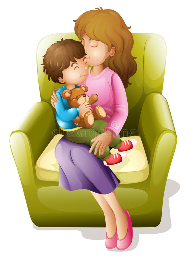 Mamma en jong geitje stock illustratie