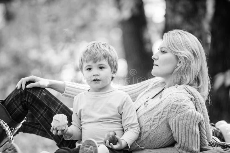 Mamma en jong geitjejongen die terwijl het wandeling van bosfamiliepicknick ontspant Moeder mooie vrouw en weinig zoon die bospic royalty-vrije stock foto's