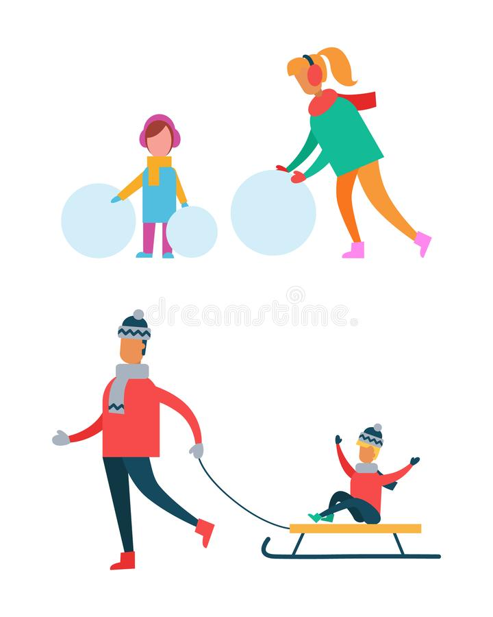 Mamma en Kind die Sneeuwman, Vader Carry Sleigh maken stock illustratie