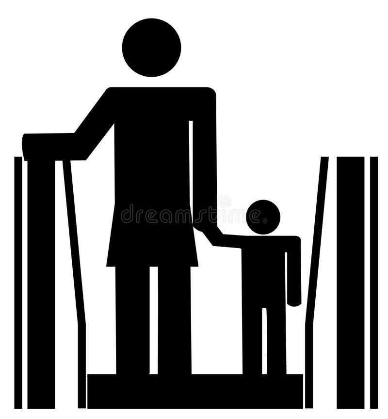 Mamma en kind op roltrap stock illustratie