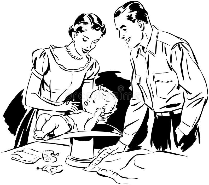 Mamma en Papa Wegende Baby stock illustratie
