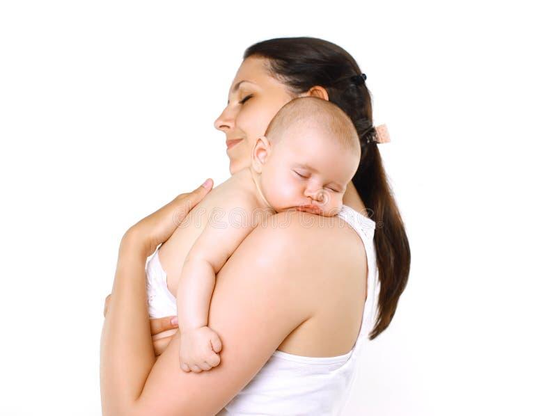 Mamma en slaapbaby stock afbeelding