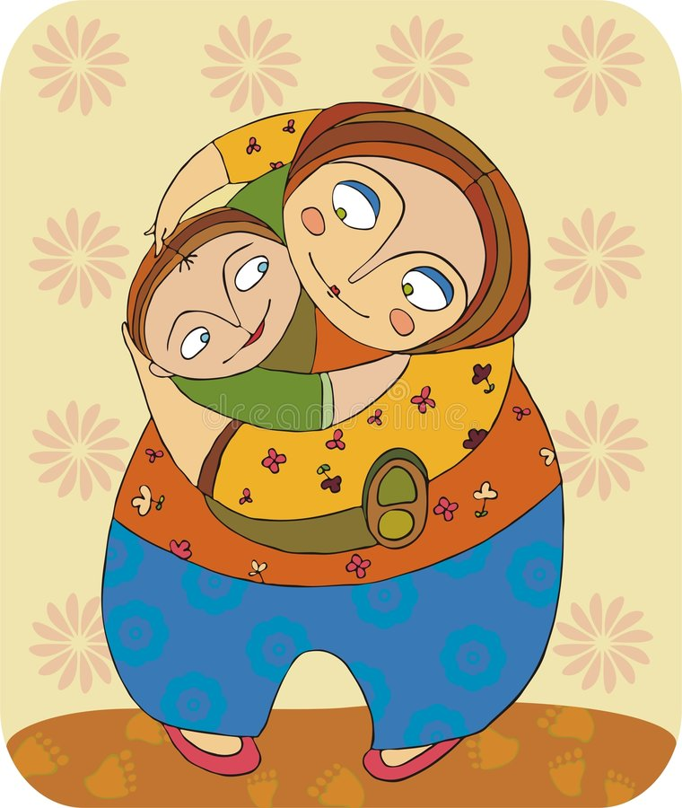 Mamma en zoon stock illustratie