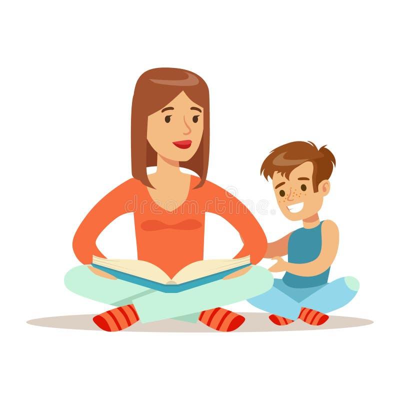 Mamma en Zoonslezingsboek, Houdende van Moeder die van de Tijd van de Goede Kwaliteitsmama met Gelukkig Jong geitje genieten stock illustratie