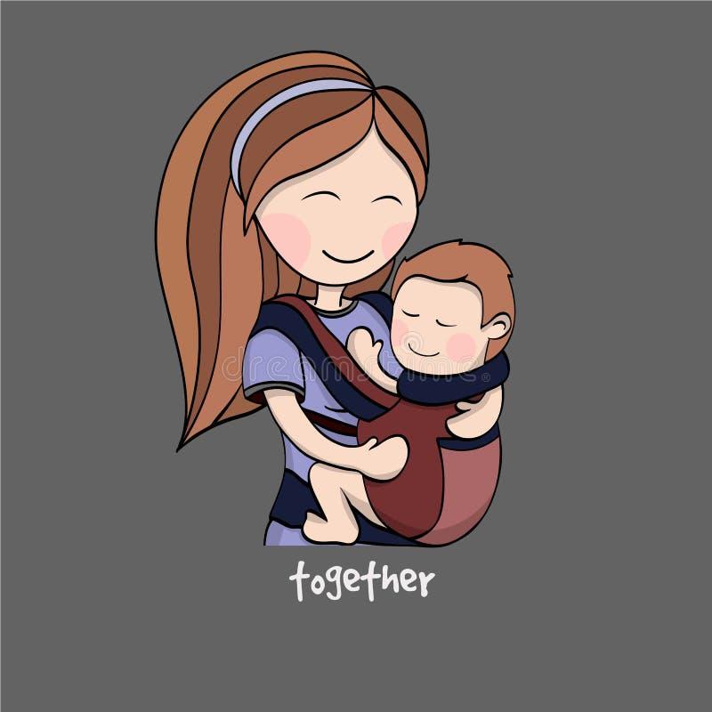 Mamma med ett barn i en behandla som ett barnbärare vektor illustrationer