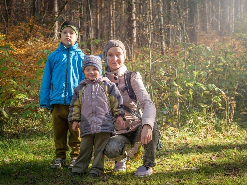 Mamma med två barn som går i höstskogen arkivfoton