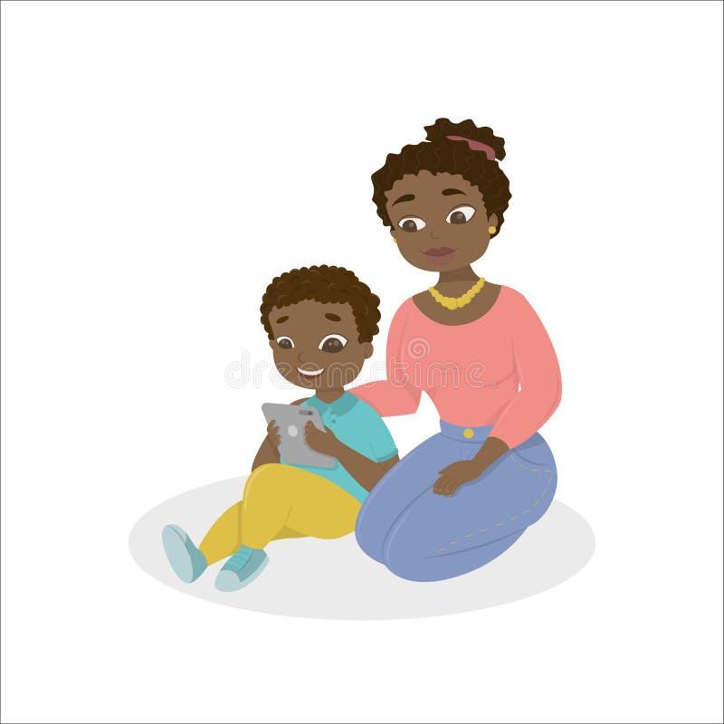 Mamma met jong geitje met tablet stock illustratie