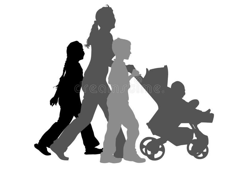 Mamma met kinderen en kinderwagen stock illustratie