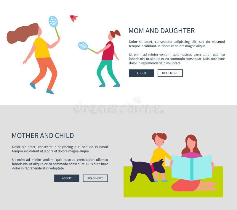 Mamma och dotter, moder med barnvektoraffischer vektor illustrationer