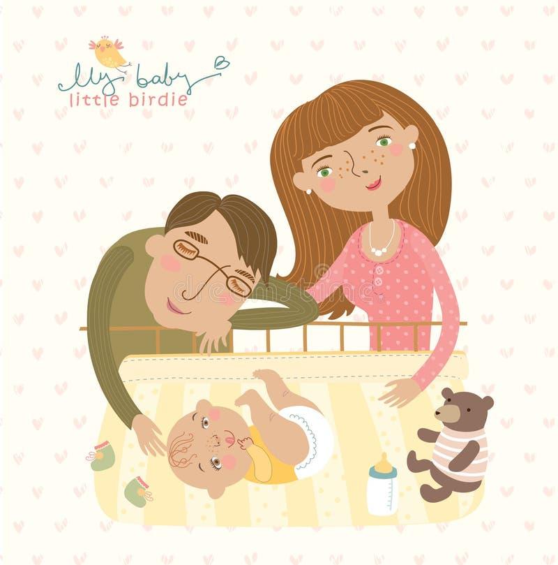 Mamma och farsa som kramar hans barn, gullig illustration royaltyfri illustrationer