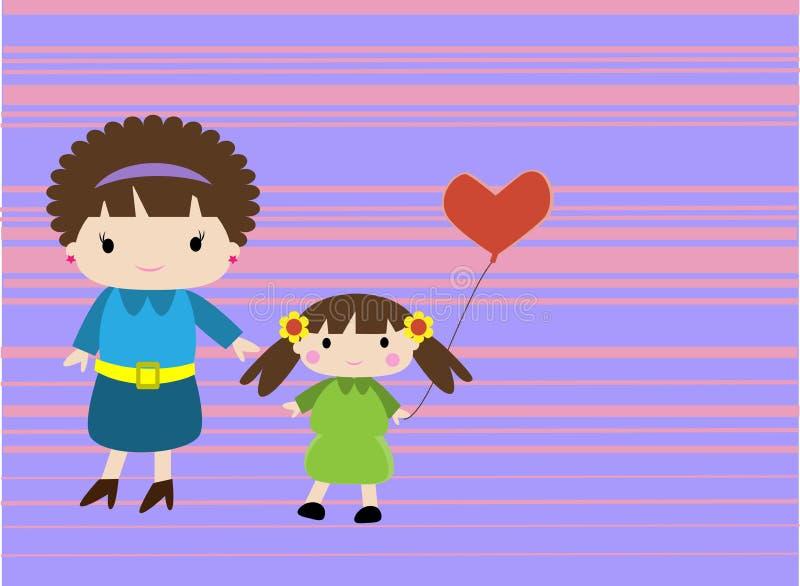 Mamma och hennes flicka stock illustrationer