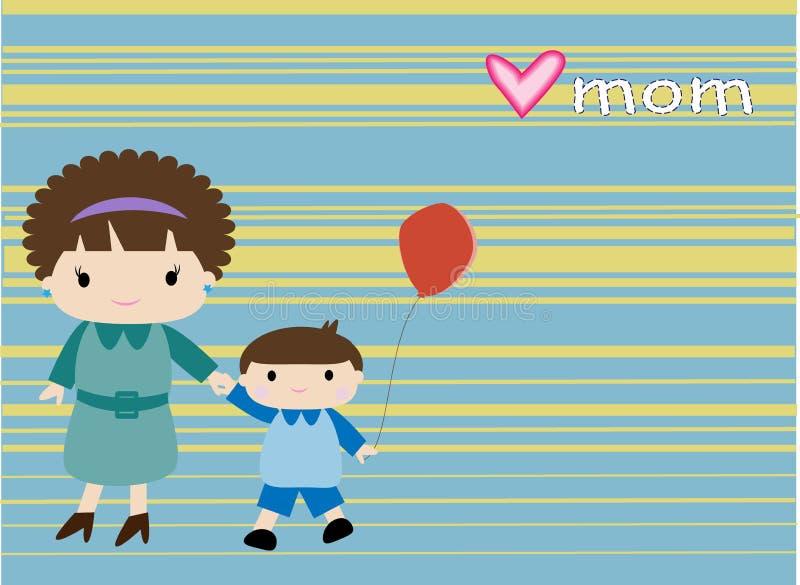 Mamma och hennes pojke royaltyfri illustrationer