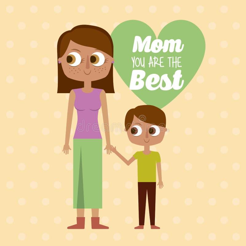 Mamma siete insieme la migliori madre e figlio della cartolina d'auguri illustrazione vettoriale