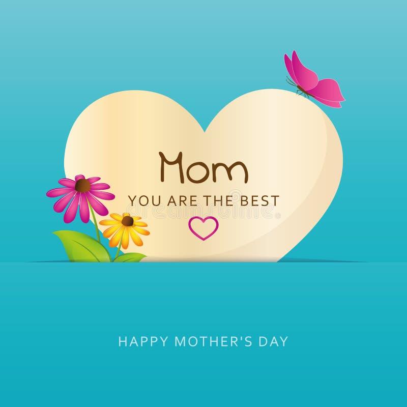 Mamma siete la migliore cartolina d'auguri del cuore per il giorno di madri con i fiori e farfalla illustrazione vettoriale