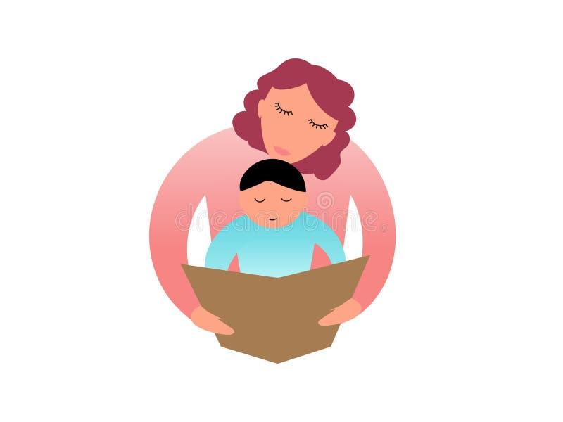 Mamma som läser en bok med hennes barn royaltyfri illustrationer