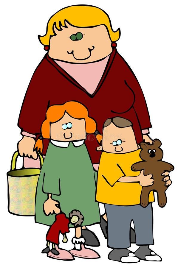 Mamma und Kinder lizenzfreie abbildung
