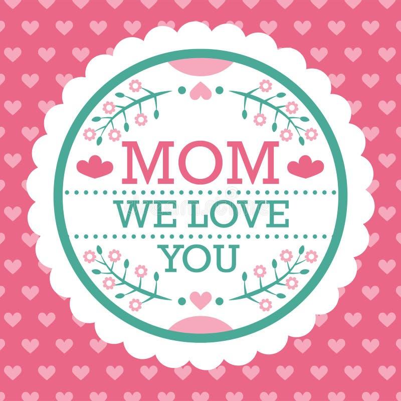 Mamma variopinta vi amiamo emblema Elementi di progettazione di vettore per la cartolina d'auguri ed altra modelli della stampa C fotografia stock