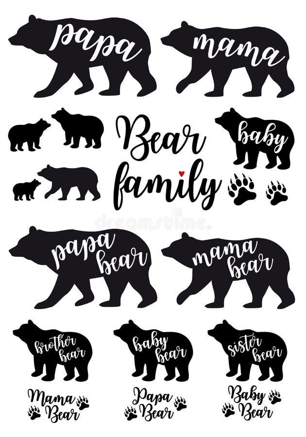 Mammabjörnen, farbjörn, behandla som ett barn björnen, vektoruppsättning royaltyfri illustrationer