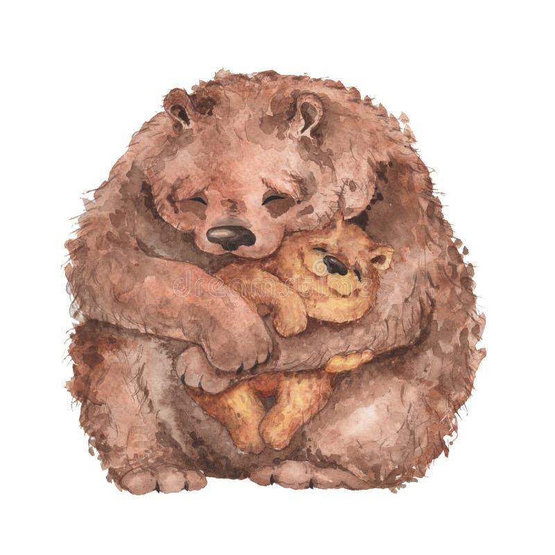 Mammabjörnen och behandla som ett barn björnen royaltyfri illustrationer