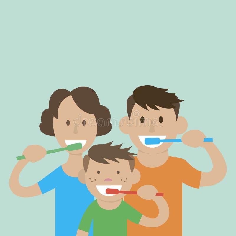 Mammafarsason som borstar deras tänder royaltyfri illustrationer