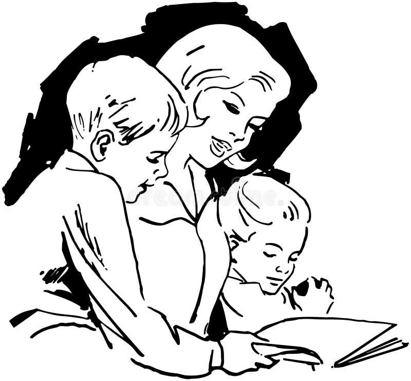 Mammalezing met Kinderen royalty-vrije illustratie