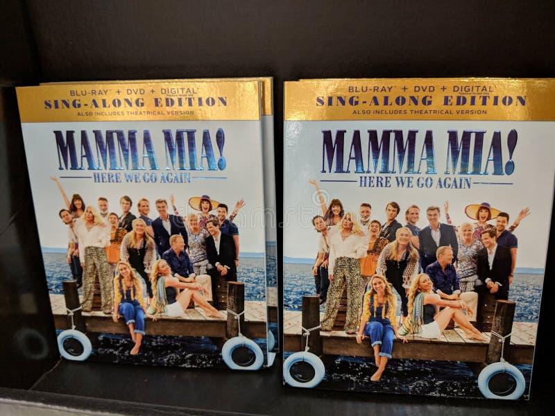 Mammamai! Hier gaan wij opnieuw blu-Ray, DVD, Digitaal teken-langs uitgave voor Verkoop stock afbeeldingen