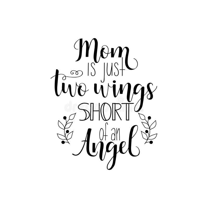Mamman är precis två vingar som är korta av en ängel white för vektor för bakgrundsillustrationhaj dagmamma s Modern handbokstäve vektor illustrationer