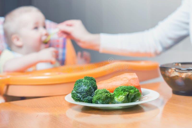 Mamman matar behandla som ett barnsoppan Sunt och naturligt behandla som ett barn mat royaltyfria foton