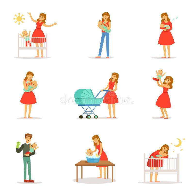 Mamman och annonsen tar omsorg av deras barnuppsättning för etikettdesign Färgrika tecknad filmtecken royaltyfri illustrationer