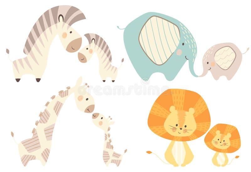 Mamman och behandla som ett barn lejongiraffet, sebran, elefant behandla som ett barn den gulliga tryckuppsättningen vektor illustrationer