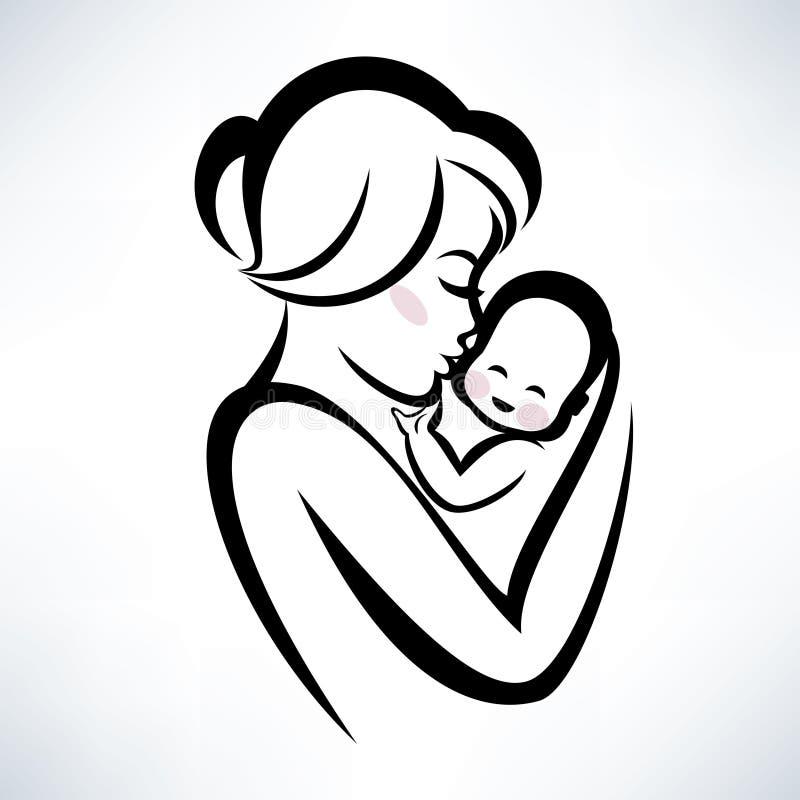 Mamman och behandla som ett barn symbol royaltyfri illustrationer