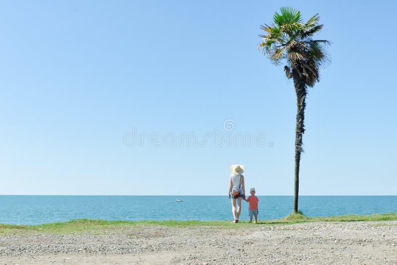 Mamman och sonen står mot bakgrunden av en högväxt palmträd, se arkivfoton