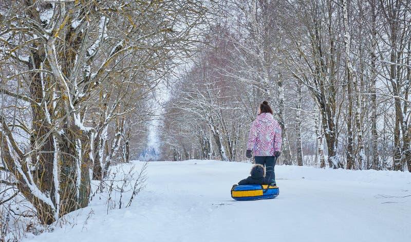 Mamman rullar hennes lilla son på rör i parkerar i vintern lycklig familj utomhus vintergyckel för unga barn royaltyfri fotografi