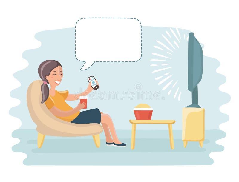 Mamman sitter och håller ögonen på tv stock illustrationer