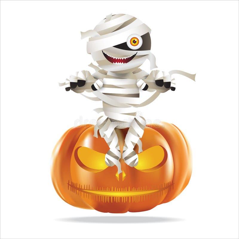 Mammasammanträde på halloween pumpa stock illustrationer