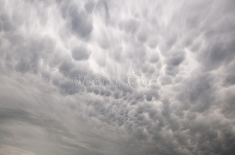 Mammatus clouds. Beautiful mammatus clouds, sky view royalty free stock image
