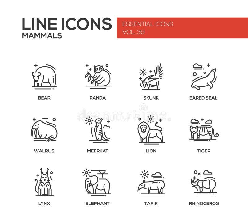 Mammifères - ligne icônes de conception réglées illustration de vecteur