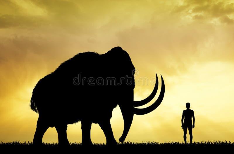 Mammoet en mens bij zonsondergang royalty-vrije illustratie