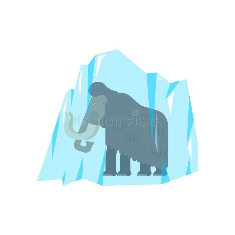 Mammoet in ijs wordt bevroren dat Het voorhistorische Archeologische dier vindt vector illustratie