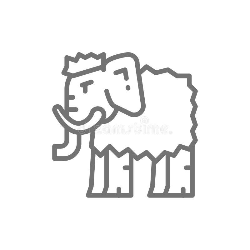 Mammoet, voorhistorisch dierlijk lijnpictogram royalty-vrije illustratie