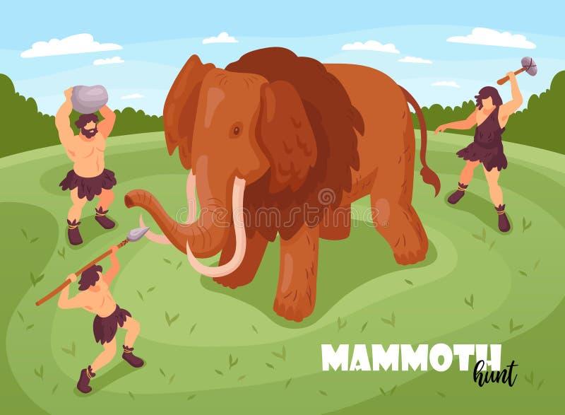 Mammoethunt isometric background stock illustratie