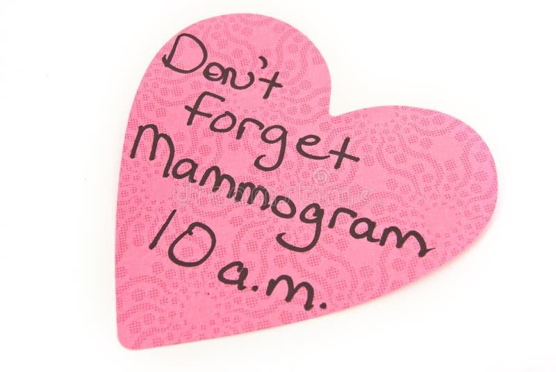 Mammogramm-Anzeigen-Anmerkung lokalisiert auf Weiß lizenzfreie stockbilder