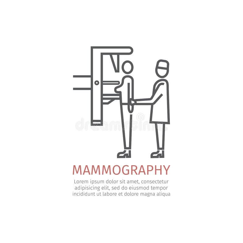 Mammography lijnpictogram vector illustratie