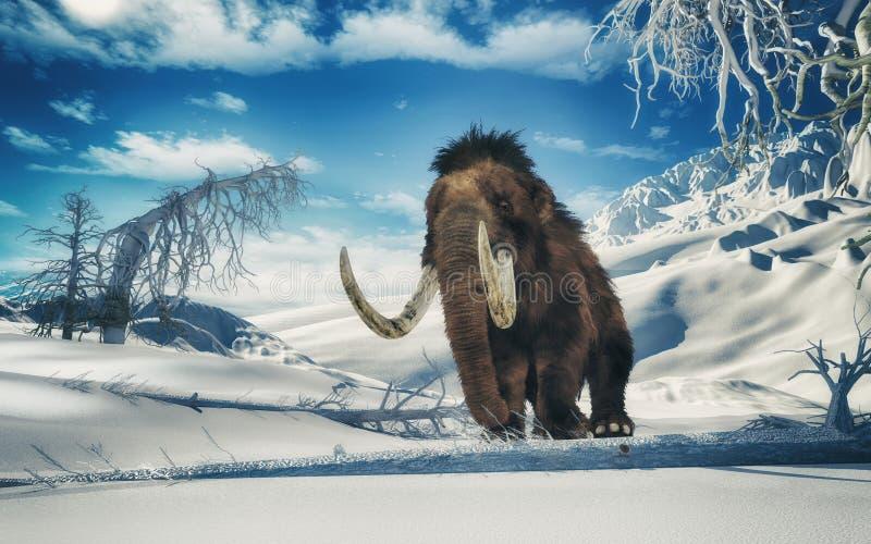 Mammoth dans les montagnes illustration stock